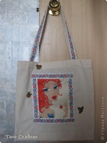 Пляжная сумка. Поленилась шить сама, купила полотняную сумку, только немного ее ушила, сделала более квадратной. фото 1