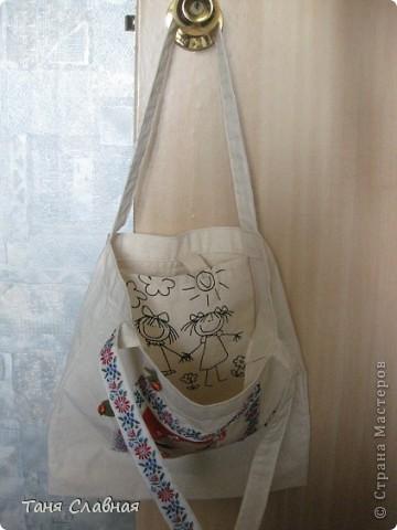 Пляжная сумка. Поленилась шить сама, купила полотняную сумку, только немного ее ушила, сделала более квадратной. фото 6