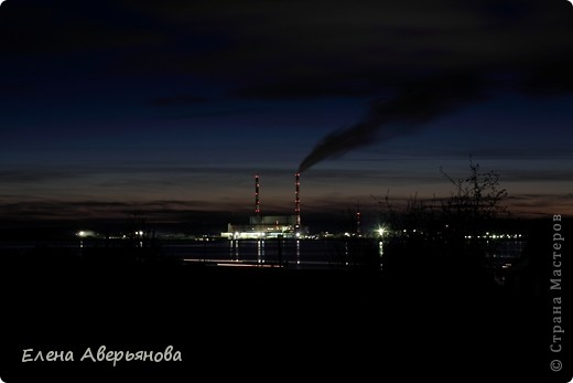 Кама. Пермский край. Вид на Пермскую ГРЭС. Вечереет. фото 4
