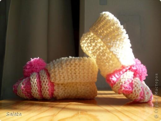 Біло-фіолетові пінетки для дівчинки 3 місяців фото 2