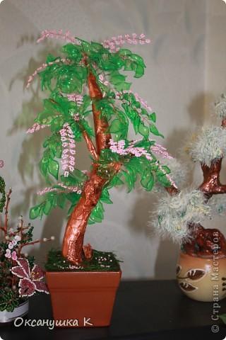 """Здравствуйте, все жители и гости Страны Мастеров! Это деревце  -  """"скороспелка"""", высотой 38см, собранное из того, что под рукой было. Внезапно нашло на меня вдохновение и все, что готовилось для других деревьев, соединилось в одном. Листики из пластиковых бутылок, розовые веточки готовились для сакуры, коряжка (ствол дерева) просто ждала своего часа))) фото 7"""