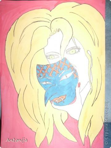 """Доброго времени суток,друзья!Сегодня решила вынести на ваш суд вот такой """"рисуночек"""". Фото,конечно,не лучшего качества,но это лучшее,что получилось! Все мы часто говорим,что носим маски! Вот это и навеяло мне желание передать все в рисунке! Идея не моя,но я рисовала себя,поэтому с оригиналом она не совсем похожа!  фото 2"""