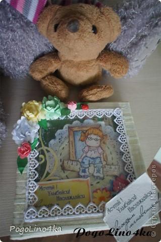 """Увидела открытку http://stranamasterov.ru/user/28190 """"Улыбнись!"""" и захотелось повторить, но так как квиллинг мне не покорился цветы я связала крючком. фото 6"""