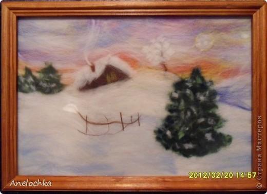 Картина из шерсти.