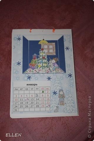 Доброго всем времени суток! Вот решила показать одну из первых своих работ в  стиле скапа. Этот календарь был сделан в подарок близким. Картинки объемные, хотя на фото это почти не видно :(  фото 1
