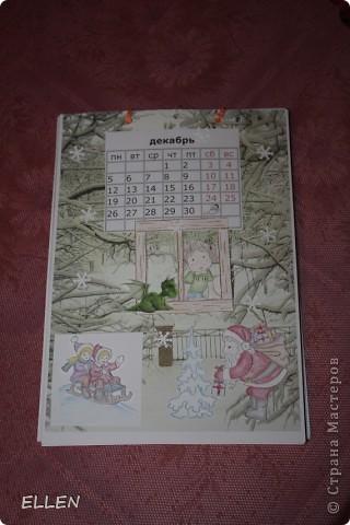 Доброго всем времени суток! Вот решила показать одну из первых своих работ в  стиле скапа. Этот календарь был сделан в подарок близким. Картинки объемные, хотя на фото это почти не видно :(  фото 12