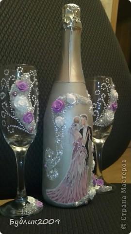 """Так хочется чтобы и по моему творчеству """"прошлись"""". Первый блин - свадебная бутылка и бокалы на 45 летие совместной жизни.   фото 2"""