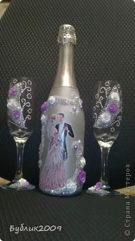 """Так хочется чтобы и по моему творчеству """"прошлись"""". Первый блин - свадебная бутылка и бокалы на 45 летие совместной жизни.   фото 1"""