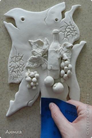 Картина панно рисунок Мастер-класс День рождения Декупаж Лепка Роспись Расколотое панно для кухни МК Тесто соленое фото 13