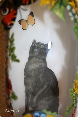 """Ещё один """"Котик"""".Ваза,декупажная карта,салфетки,акриловые краски,прорисовка акрилом,акриловый лак,деревянные божьи коровки,бабочка,горячий клей.Обратный декупаж. фото 4"""