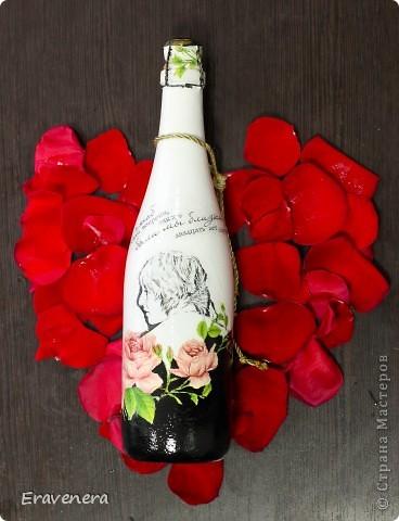 Сделала бутылку шампанского, которую подарю подругу на день ее рождения фото 4
