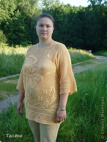 Рубаху свободного покроя можно  и связать из ниток, В данном случае использую филейную сетки с рисунком в ней. Удобно и практично. фото 1