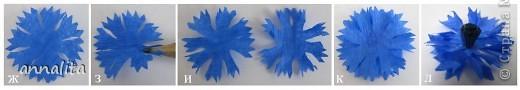 Синее небо упало на луг, Синим, пресиним всё стало вокруг, На лугу расцвели, у синей реки, Как синие небо, цветки – васильки Н. Маслей  Решила я как-то васильки сделать и начала в интернете всю информацию собирать. В итоге сделала свои цветочки, используя идеи разных авторов. Предлагаю МК, может кому-то пригодится фото 5