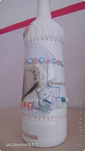 это бутылочка на рождения первенца.вид спереди. фото 3
