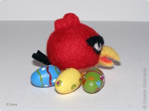 Красная птичка Angry Birds из известной видеоигры. А злые в этой игре птички потому, что свинки воруют у них яйца и делают яичницу- глазунью. Я не играю в видеоигры, а вот дети мои от них в восторге.  фото 1