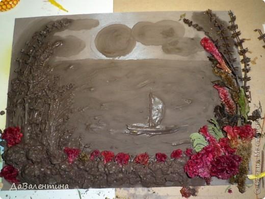 Флористика Коллаж Мини МК Картина-панно Коллаж в технике терра Лунная дорожка Материал природный фото 5