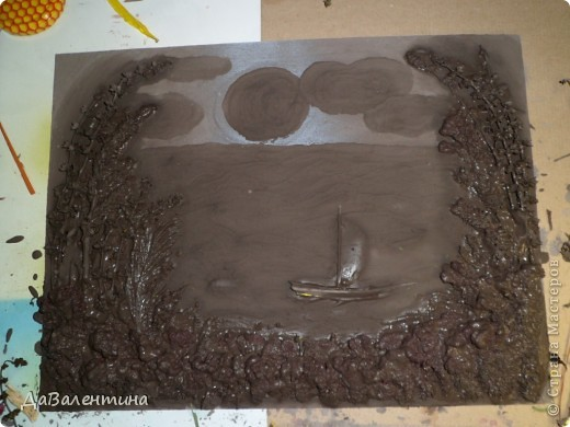 Флористика Коллаж Мини МК Картина-панно Коллаж в технике терра Лунная дорожка Материал природный фото 6