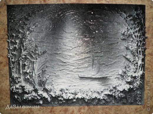 Флористика Коллаж Мини МК Картина-панно Коллаж в технике терра Лунная дорожка Материал природный фото 8
