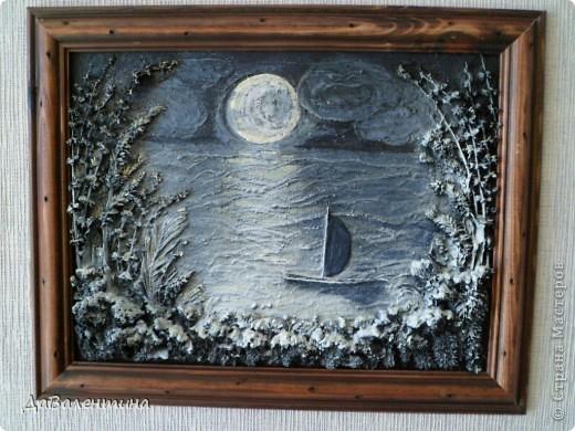 Флористика Коллаж Мини МК Картина-панно Коллаж в технике терра Лунная дорожка Материал природный фото 9