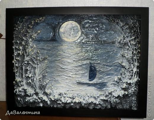Флористика Коллаж Мини МК Картина-панно Коллаж в технике терра Лунная дорожка Материал природный фото 11