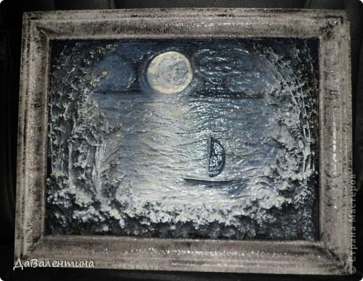 Флористика Коллаж Мини МК Картина-панно Коллаж в технике терра Лунная дорожка Материал природный фото 14