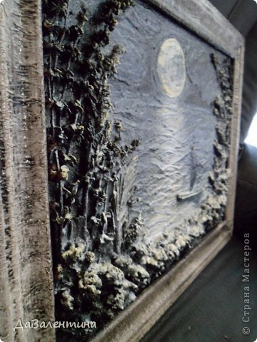 Флористика Коллаж Мини МК Картина-панно Коллаж в технике терра Лунная дорожка Материал природный фото 15