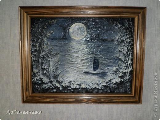 Флористика Коллаж Мини МК Картина-панно Коллаж в технике терра Лунная дорожка Материал природный фото 10