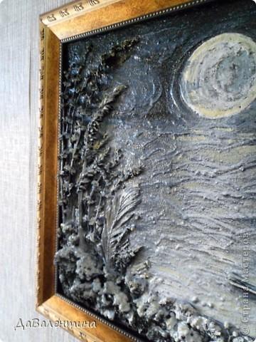 Флористика Коллаж Мини МК Картина-панно Коллаж в технике терра Лунная дорожка Материал природный фото 2