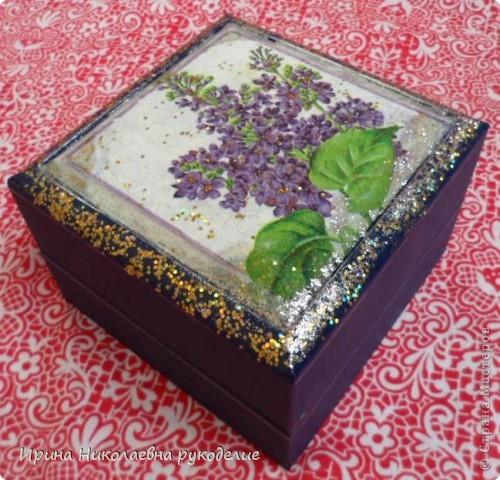 Шкатулка декорированная салфеткой фото 2