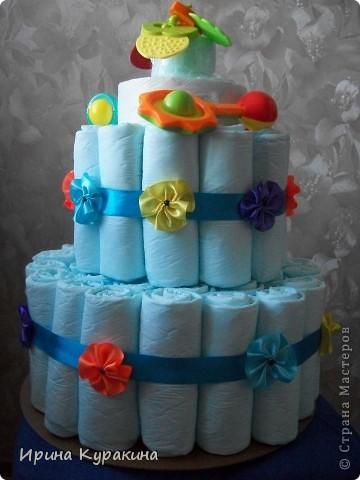 торт решила сделать из одноразовых пеленок,а не из памперсов фото 3