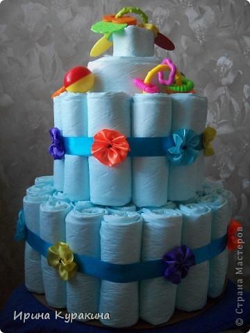 торт решила сделать из одноразовых пеленок,а не из памперсов фото 4