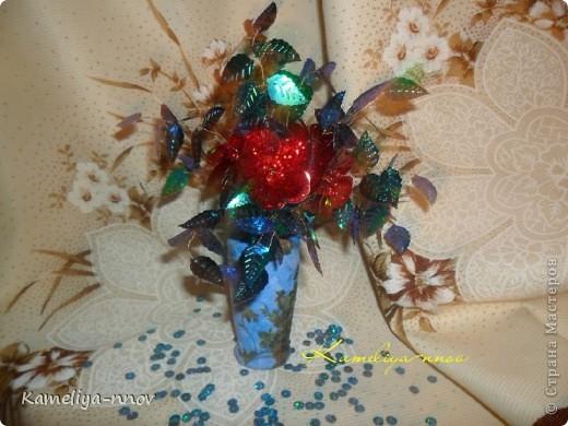 Букет цветов из пайеток фото 2