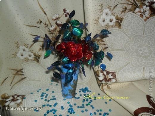 Букет цветов из пайеток фото 1