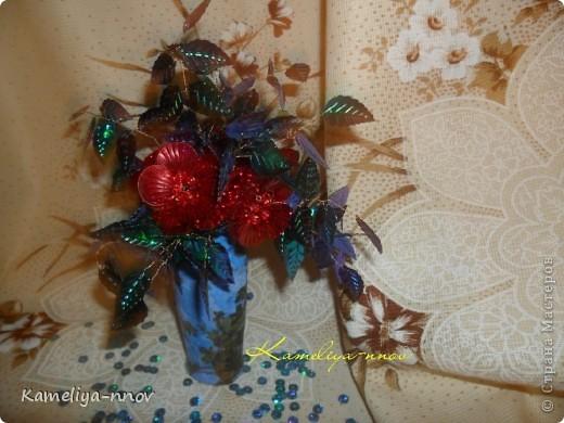Букет цветов из пайеток фото 7