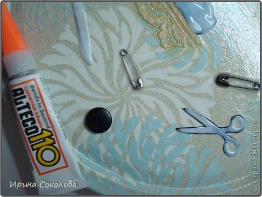 Короб для рукоделия выполнен в технике декупаж и аппликация. фото 9