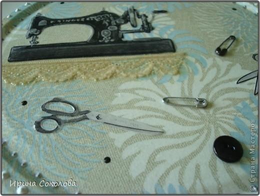 Короб для рукоделия выполнен в технике декупаж и аппликация. фото 11