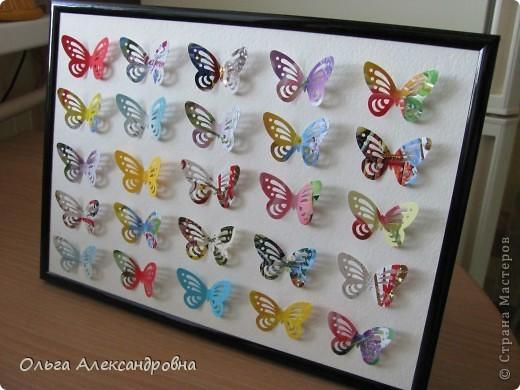 Оформляю дачу. Решила сделать панно из бабочек. Бабочки дырокольные из старых открыток. Рамочка, какая попалась под руку, но кажется, просится более глубокая. фото 1
