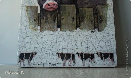 Просто так сделала сегодня вот такую досочку. Но не очень хотелось избитую кухонную тему, поэтому - коровы!)) фото 3