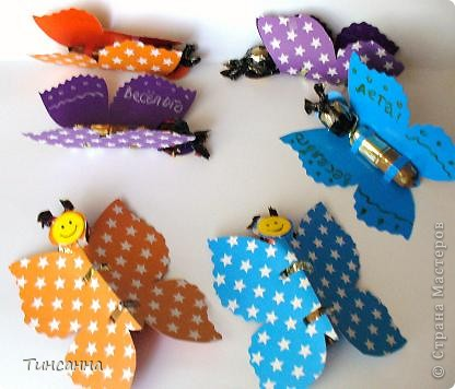 Каждая бабочка содержит две конфетки:круглая-голова, длинная-туловище. фото 1