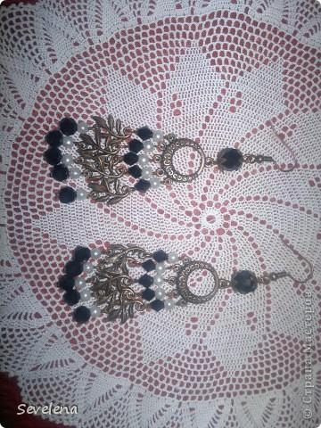 а это работа крючком и мои первые сережки. фото 2