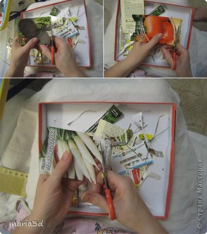 Коробка для хранения семян. Каждый раз, перебирая семена, ужасаюсь страшненькой коробочке в которой они хранятся. Порой семеня валяются где придется, перетянутые резинкой или завернуты в газетный обрывок.  Когда я, в преддверии посадочного сезона, не нашла очередные семена дома (точно знаю, что были!), то подумала - всё! Пора что-то с ними делать!  И сделала: фото 4