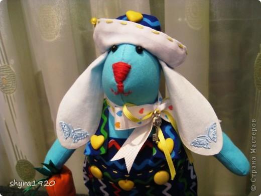 Это зайчик, которому я шила одежку с аистами и детками, мне не понравилось и  я его переодела, теперь они в паре с моим предыдущим голубым зайцем, просто братья красавцы. фото 3