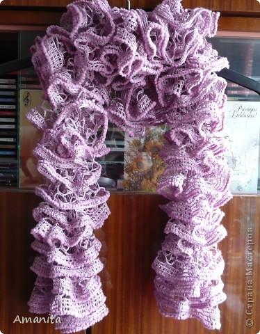 Связался такой ажурный шарфик, обвязка длинной травкой. фото 3