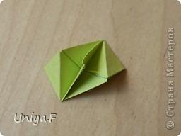 Эту кусудаму я назвала Вафельное солнце.  Она не совсем обычная по строению модуля вставки. Сделать ее из офисной бумаги аккуратно и спокойно у меня не получилось. Бумага здесь нужна тонкая, но хорошо держащая складки. Словом, корейская. И вообще, прежде чем спешно нарезать бумагу, попробуйте сначала черновой модуль. Тогда поймете его особенности, и быть может, желание ее делать пропадет.  30 соед.модулей 2,8*5,6 (1:2) и 30 вставок 4*4. Итог 6,5 см. Сборка без клея. фото 19