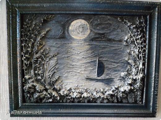 Флористика Коллаж Мини МК Картина-панно Коллаж в технике терра Лунная дорожка Материал природный фото 16