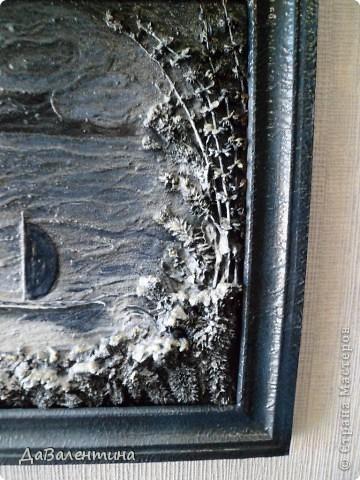 Флористика Коллаж Мини МК Картина-панно Коллаж в технике терра Лунная дорожка Материал природный фото 17