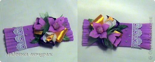 Идею такой упаковки с рюшечкой подглядела у Валентинки Порчелли. большое вам спасибо. Итак мои шоколадки учителям: сиреневая фото 1