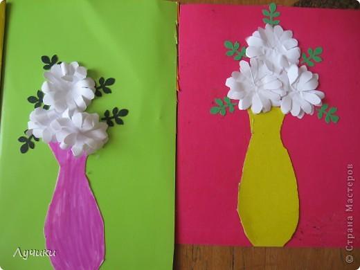 Вот по такому образцу мои второклашечки  делали открытку ко дню матери. фото 4