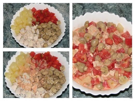 """Салат получается бесподобно вкусный и совершенно легкий. Съесть его можно сколько угодно… Когда я делаю этот салат, то могу им позавтракать, пообедать и поужинать!, если конечно, мне позволят мои домочадцы, уж слишком высока конкуренция :) На фото двойная порция (жду в гости подружку - ценителя моего салатика). Поставлю в холодильник до прихода ценительницы. Украшать салат буду """"сеточкой"""" из майонеза и кетчупа непосредственно перед подачей на стол. Итак приступим… фото 4"""