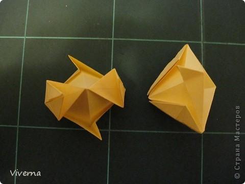 """кусудама: """"Spring fantasy""""...""""Весенняя фантазия"""" общий размер - 11 см модули: 30 шт 7х7 см на насадки, 20 шт 7х7 см на пирамидки сборка с клеем. автор: Viverna Баловалась я как то с насадками на пирамидку...вроде неплохо получилось... фото 8"""